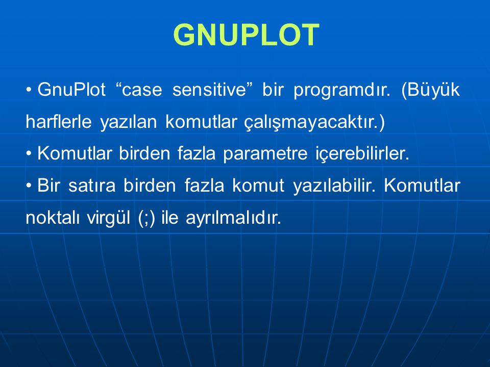 GNUPLOT GnuPlot case sensitive bir programdır. (Büyük harflerle yazılan komutlar çalışmayacaktır.)