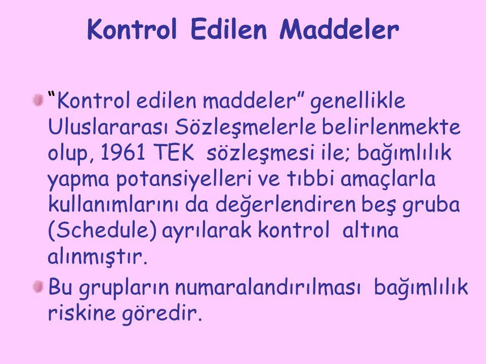 Kontrol Edilen Maddeler