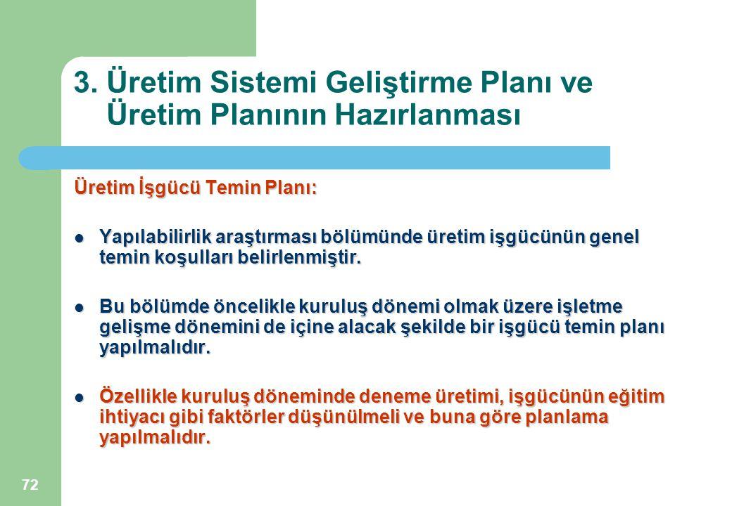 3. Üretim Sistemi Geliştirme Planı ve Üretim Planının Hazırlanması