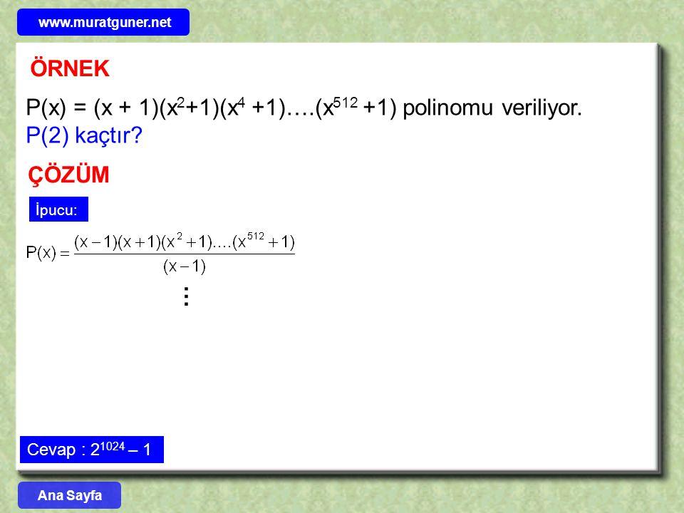 www.muratguner.net ÖRNEK. P(x) = (x + 1)(x2+1)(x4 +1)….(x512 +1) polinomu veriliyor. P(2) kaçtır