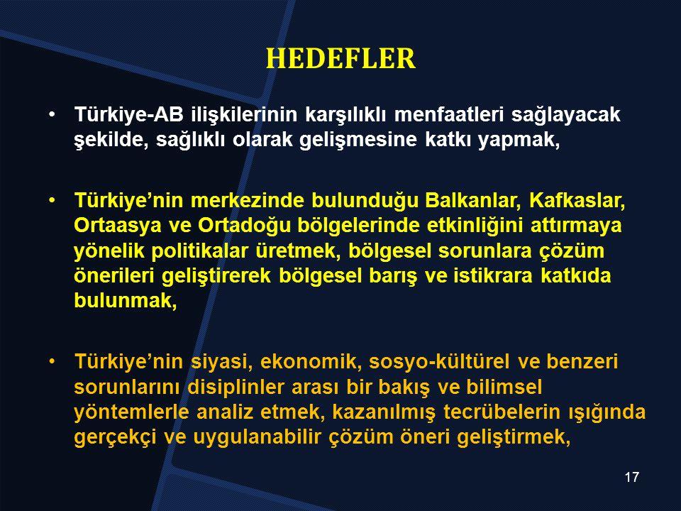 HEDEFLER Türkiye-AB ilişkilerinin karşılıklı menfaatleri sağlayacak şekilde, sağlıklı olarak gelişmesine katkı yapmak,