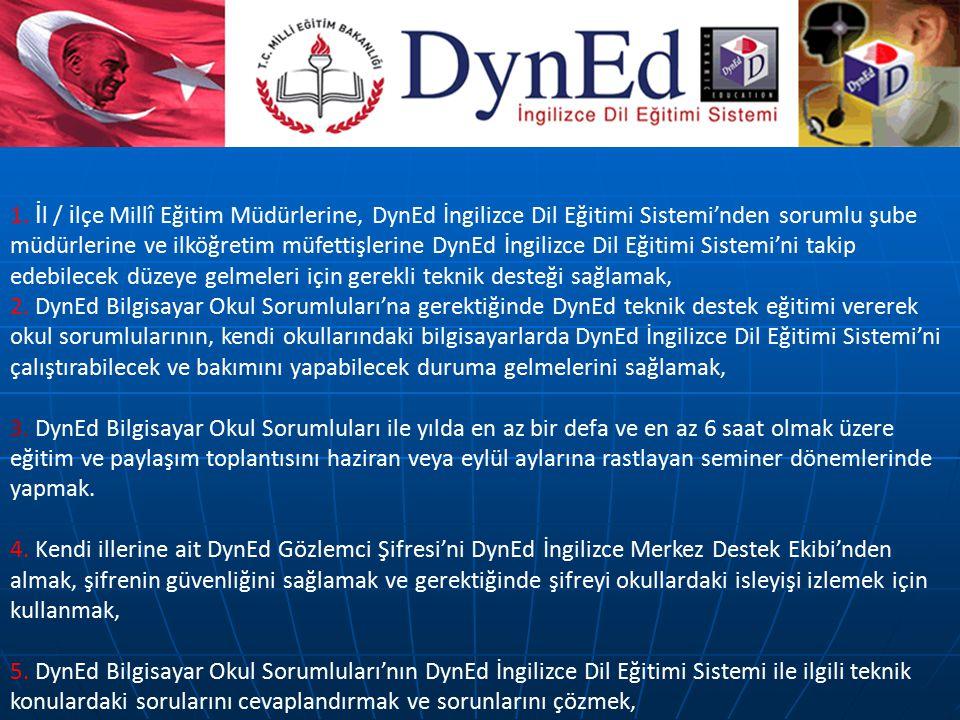 1. İl / ilçe Millî Eğitim Müdürlerine, DynEd İngilizce Dil Eğitimi Sistemi'nden sorumlu şube