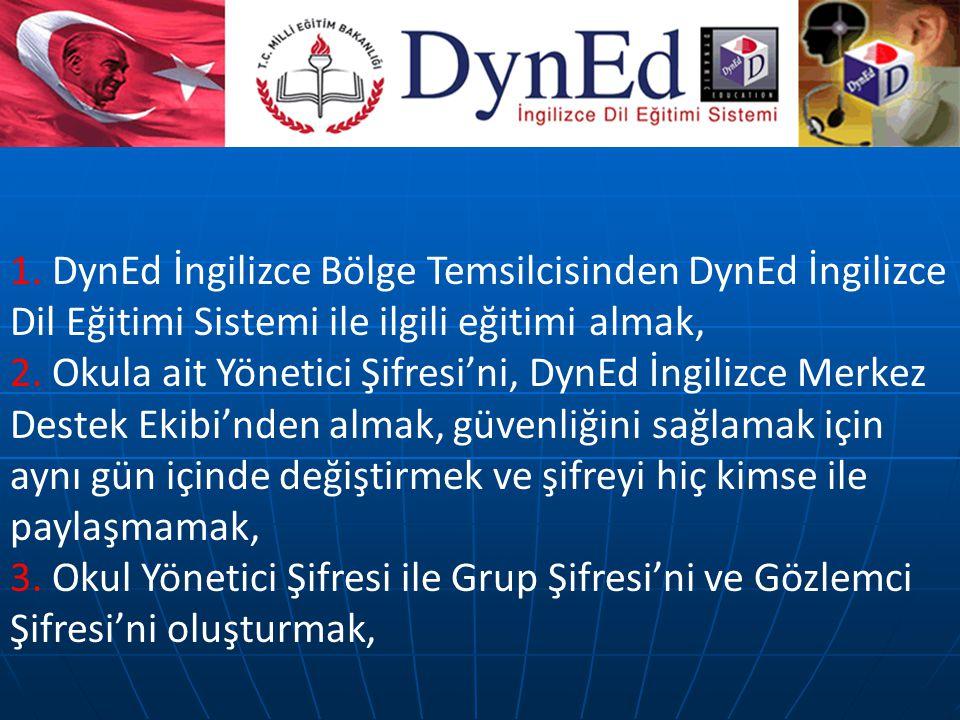 1. DynEd İngilizce Bölge Temsilcisinden DynEd İngilizce Dil Eğitimi Sistemi ile ilgili eğitimi almak,