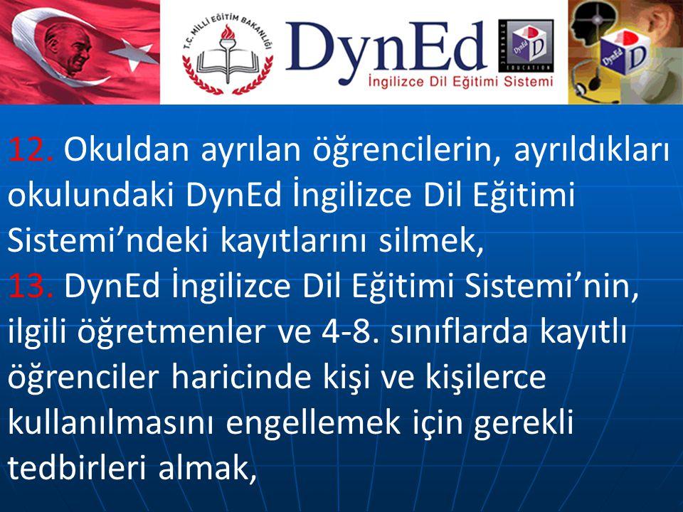 12. Okuldan ayrılan öğrencilerin, ayrıldıkları okulundaki DynEd İngilizce Dil Eğitimi