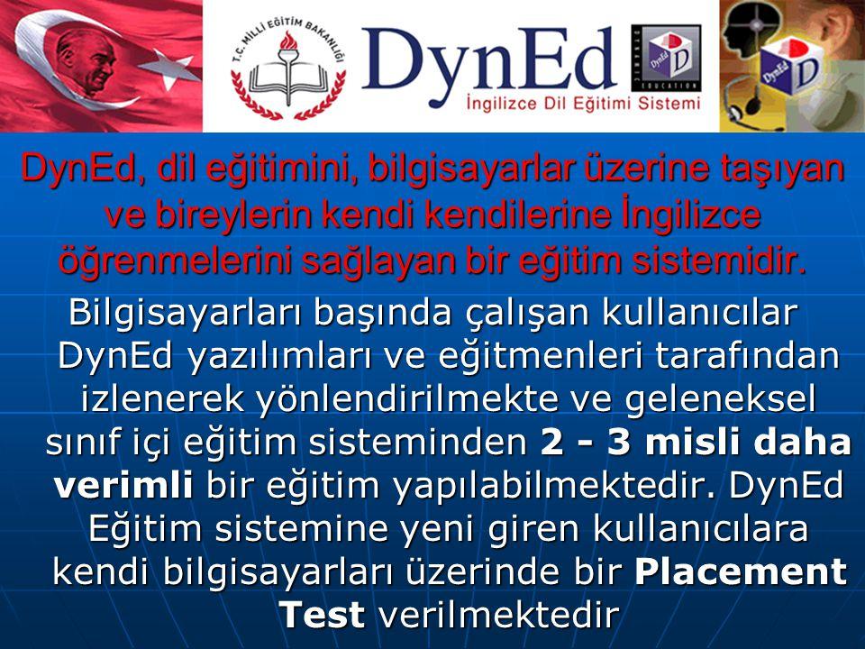 DynEd, dil eğitimini, bilgisayarlar üzerine taşıyan ve bireylerin kendi kendilerine İngilizce öğrenmelerini sağlayan bir eğitim sistemidir.