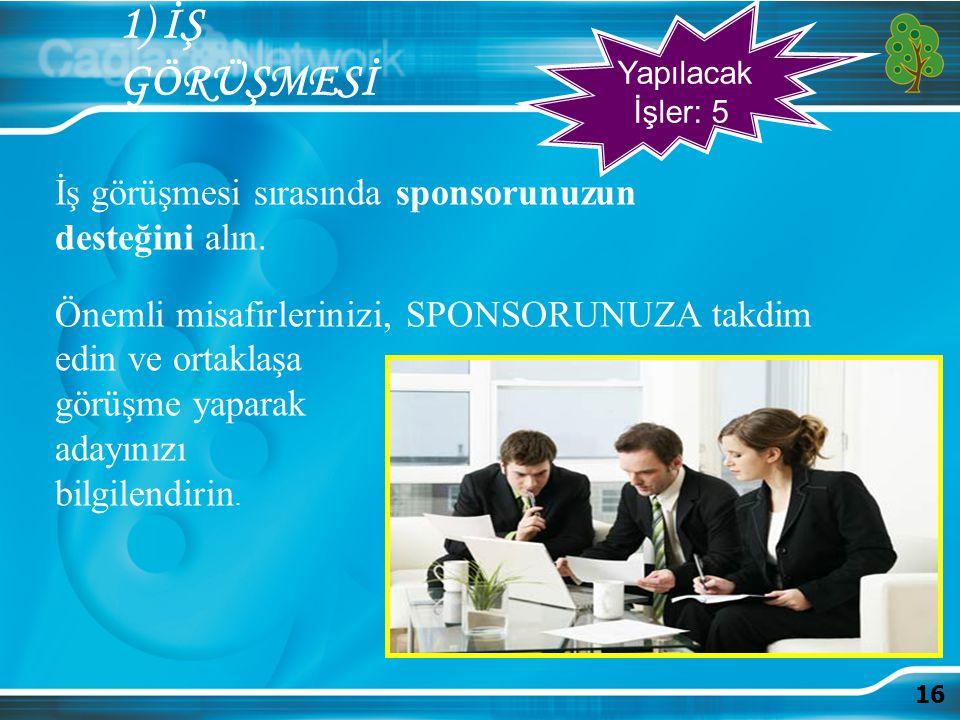 1) İŞ GÖRÜŞMESİ İş görüşmesi sırasında sponsorunuzun desteğini alın.
