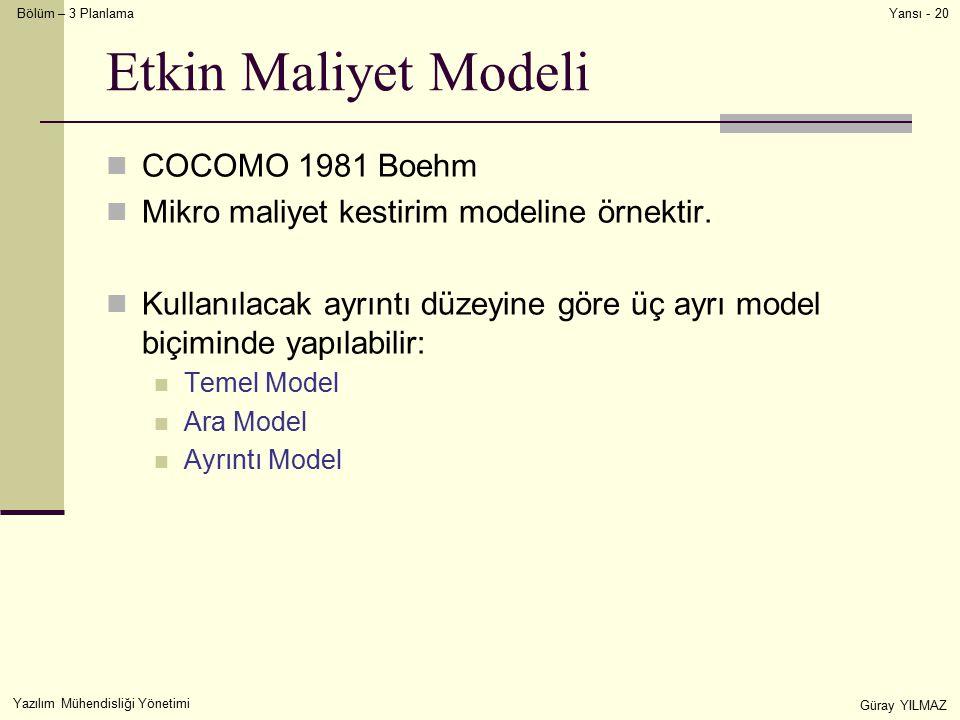 Etkin Maliyet Modeli COCOMO 1981 Boehm