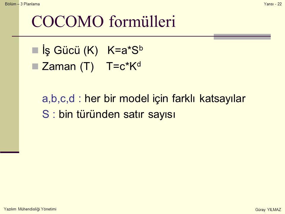 COCOMO formülleri İş Gücü (K) K=a*Sb Zaman (T) T=c*Kd