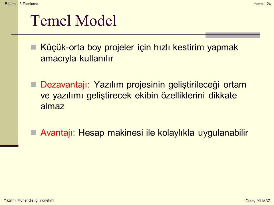 Temel Model Küçük-orta boy projeler için hızlı kestirim yapmak amacıyla kullanılır.