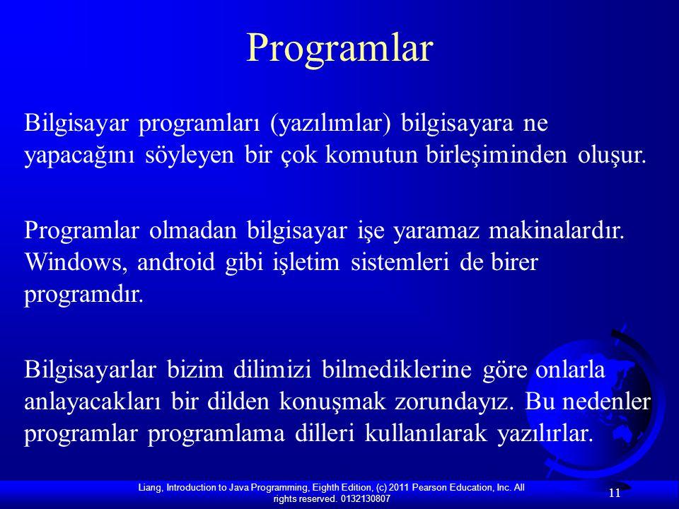 Programlar Bilgisayar programları (yazılımlar) bilgisayara ne yapacağını söyleyen bir çok komutun birleşiminden oluşur.