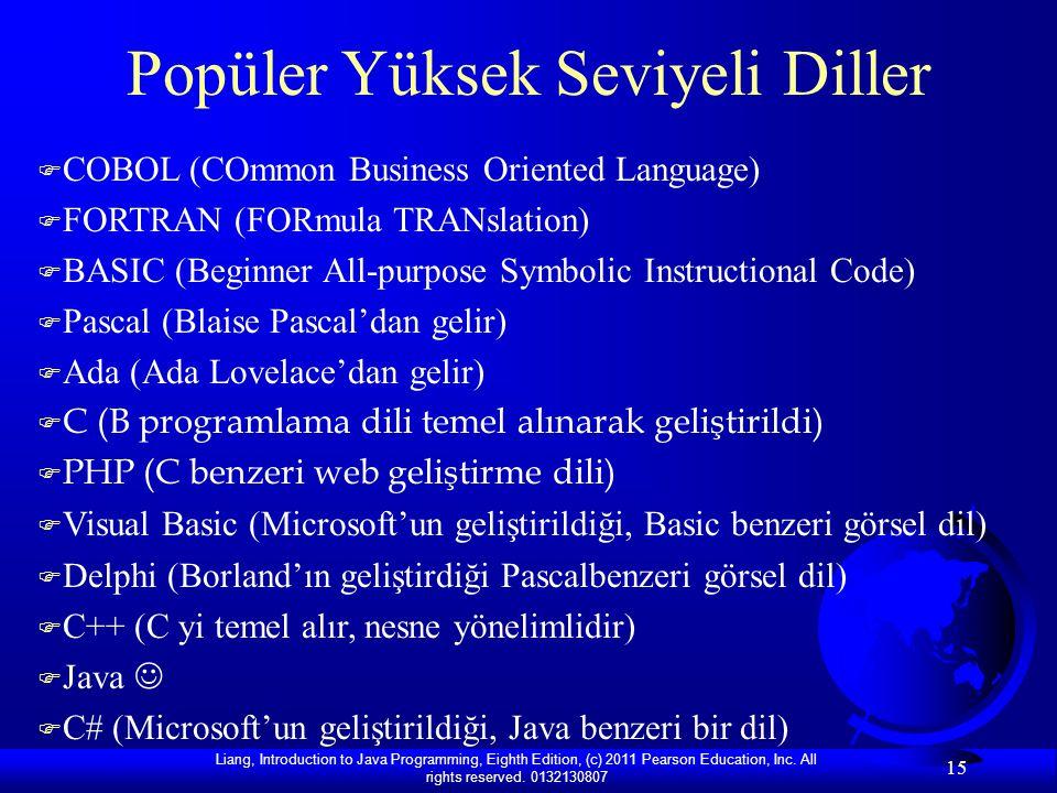 Popüler Yüksek Seviyeli Diller