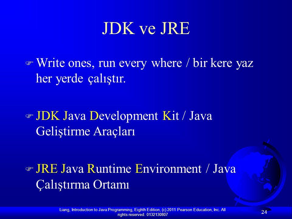 JDK ve JRE Write ones, run every where / bir kere yaz her yerde çalıştır. JDK Java Development Kit / Java Geliştirme Araçları.