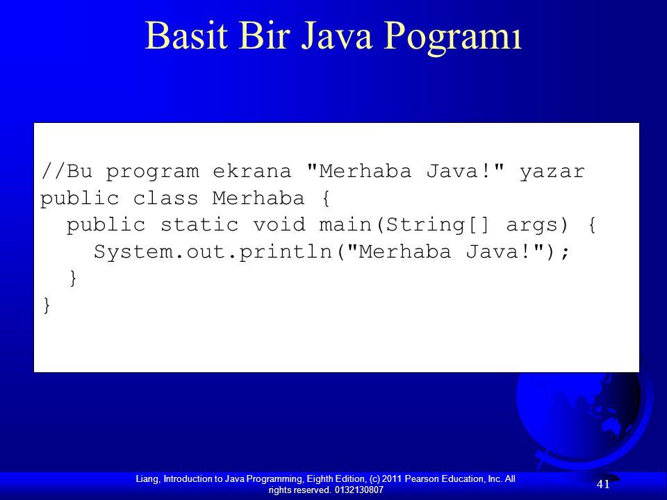Basit Bir Java Pogramı //Bu program ekrana Merhaba Java! yazar