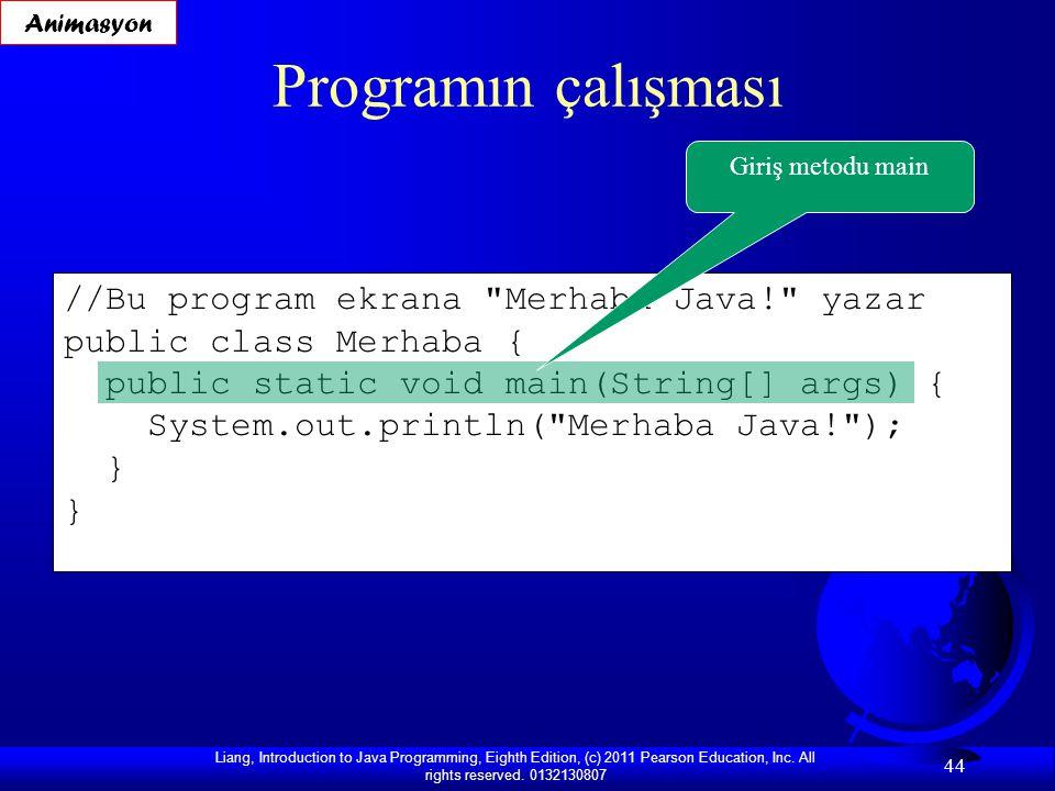Programın çalışması //Bu program ekrana Merhaba Java! yazar