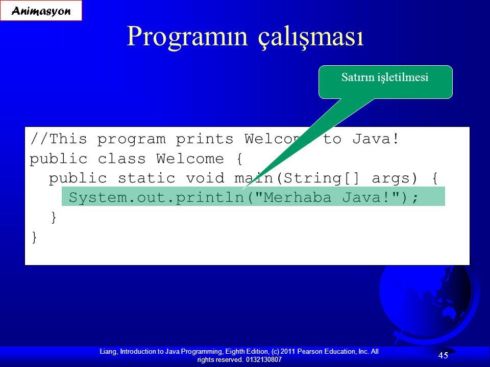 Programın çalışması //This program prints Welcome to Java!