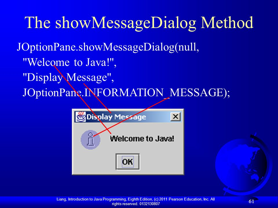 The showMessageDialog Method