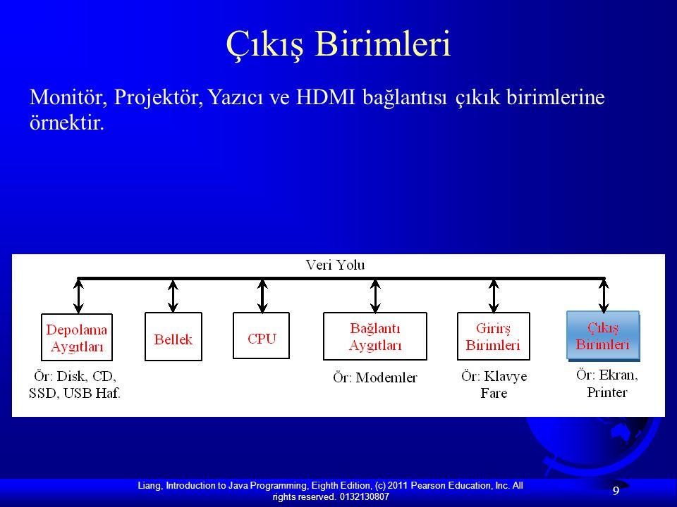 Çıkış Birimleri Monitör, Projektör, Yazıcı ve HDMI bağlantısı çıkık birimlerine örnektir.