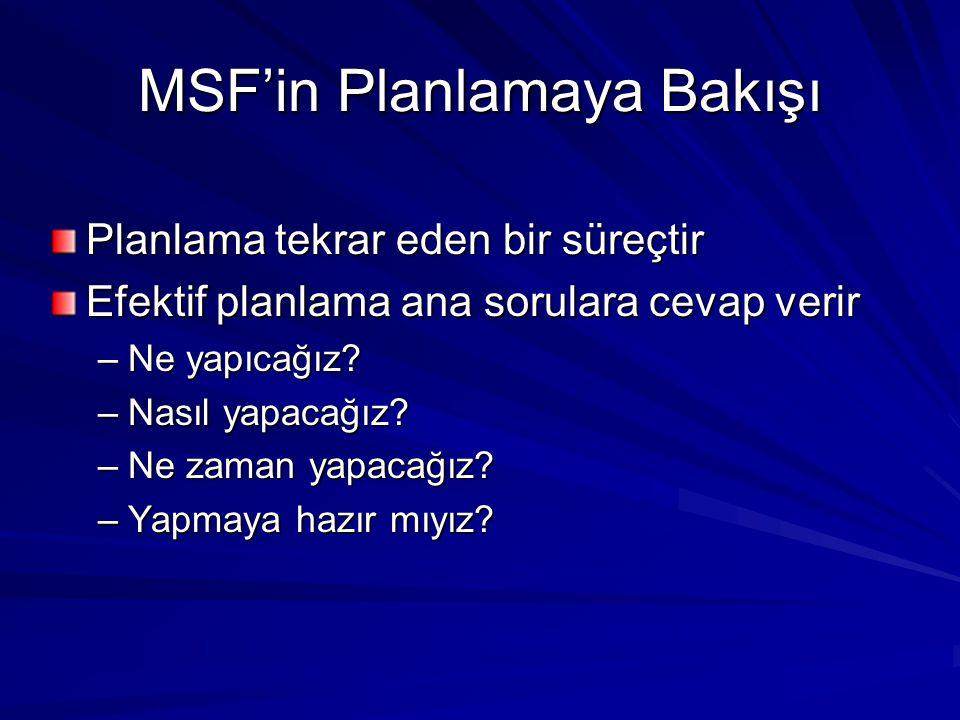 MSF'in Planlamaya Bakışı
