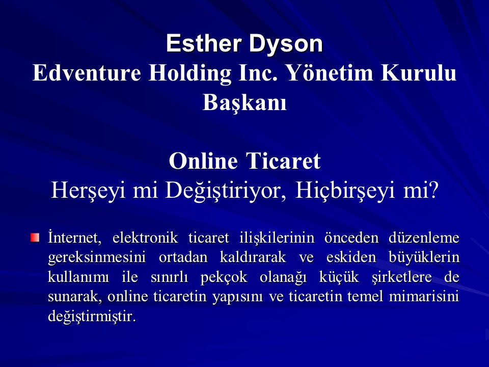 Esther Dyson Edventure Holding Inc
