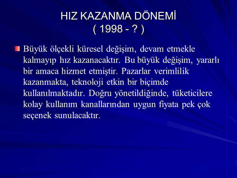 HIZ KAZANMA DÖNEMİ ( 1998 - )