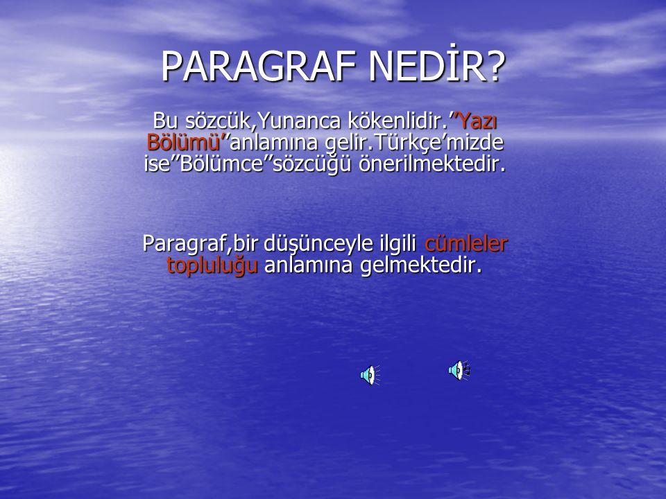 PARAGRAF NEDİR Bu sözcük,Yunanca kökenlidir.''Yazı Bölümü''anlamına gelir.Türkçe'mizde ise''Bölümce''sözcüğü önerilmektedir.