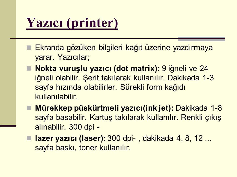 Yazıcı (printer) Ekranda gözüken bilgileri kağıt üzerine yazdırmaya yarar. Yazıcılar;