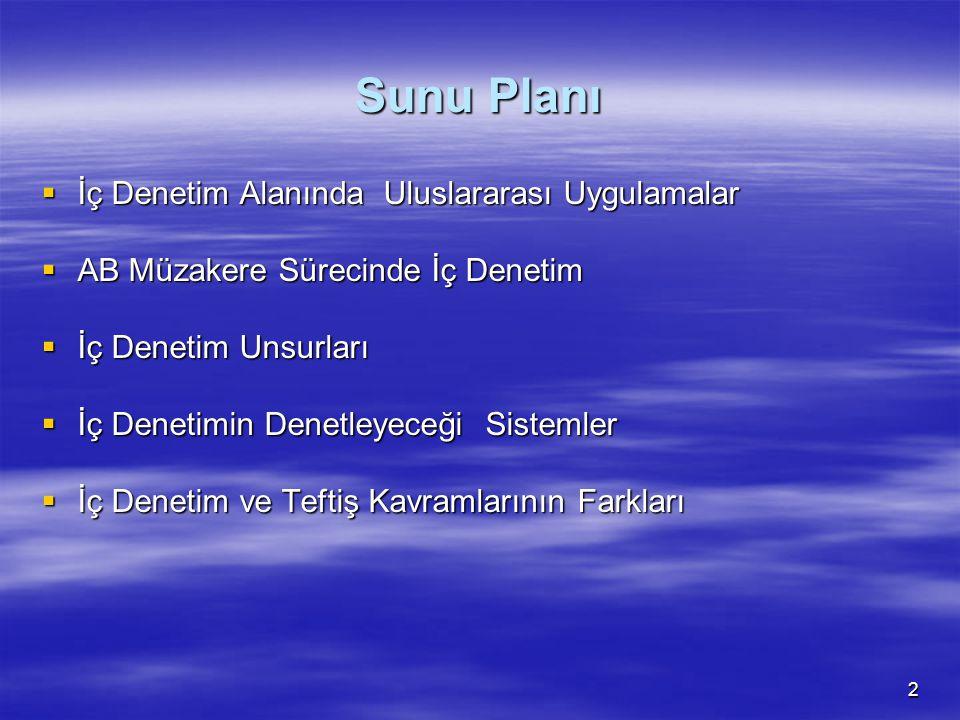 Sunu Planı İç Denetim Alanında Uluslararası Uygulamalar