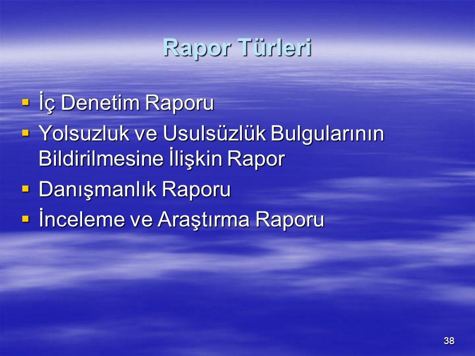 Rapor Türleri İç Denetim Raporu