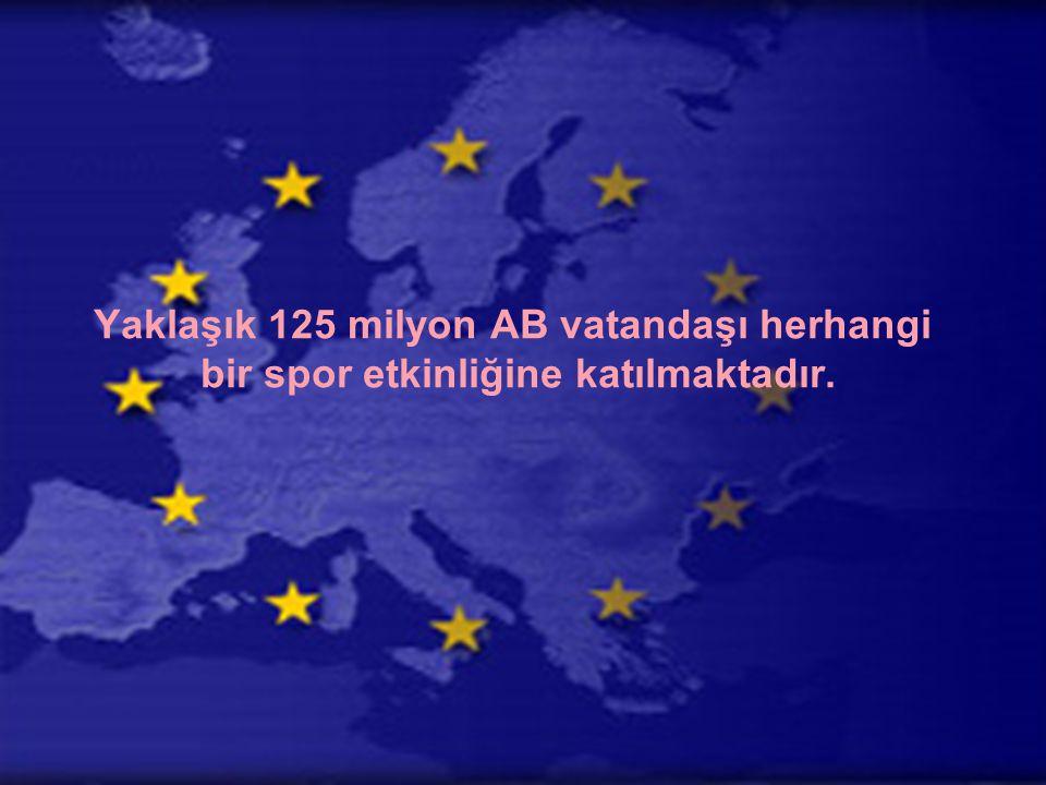 Yaklaşık 125 milyon AB vatandaşı herhangi bir spor etkinliğine katılmaktadır.
