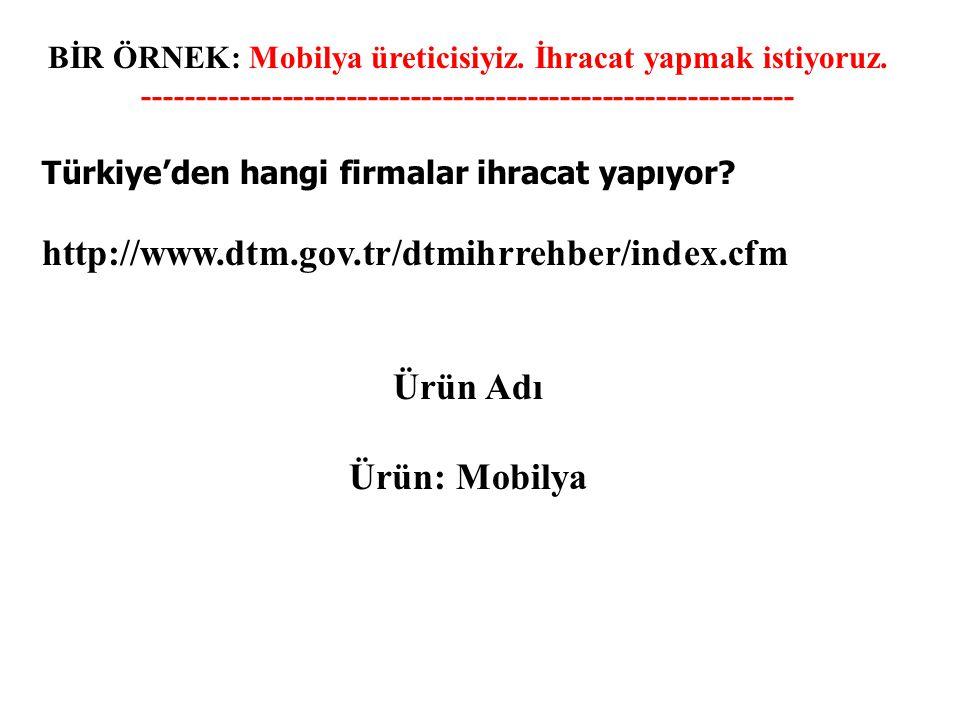 http://www.dtm.gov.tr/dtmihrrehber/index.cfm Ürün Adı Ürün: Mobilya
