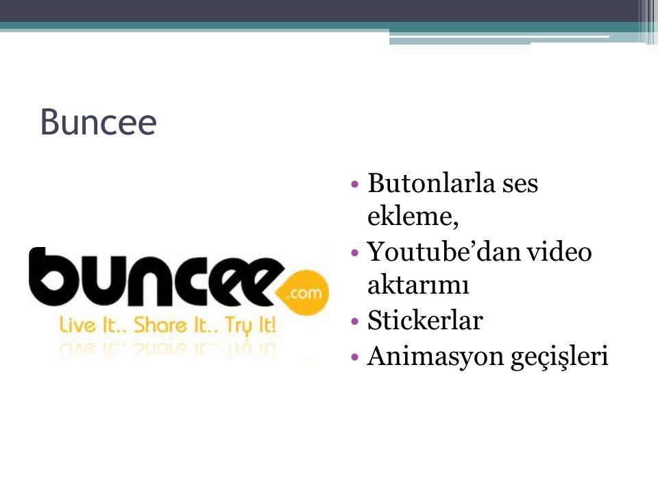Buncee Butonlarla ses ekleme, Youtube'dan video aktarımı Stickerlar