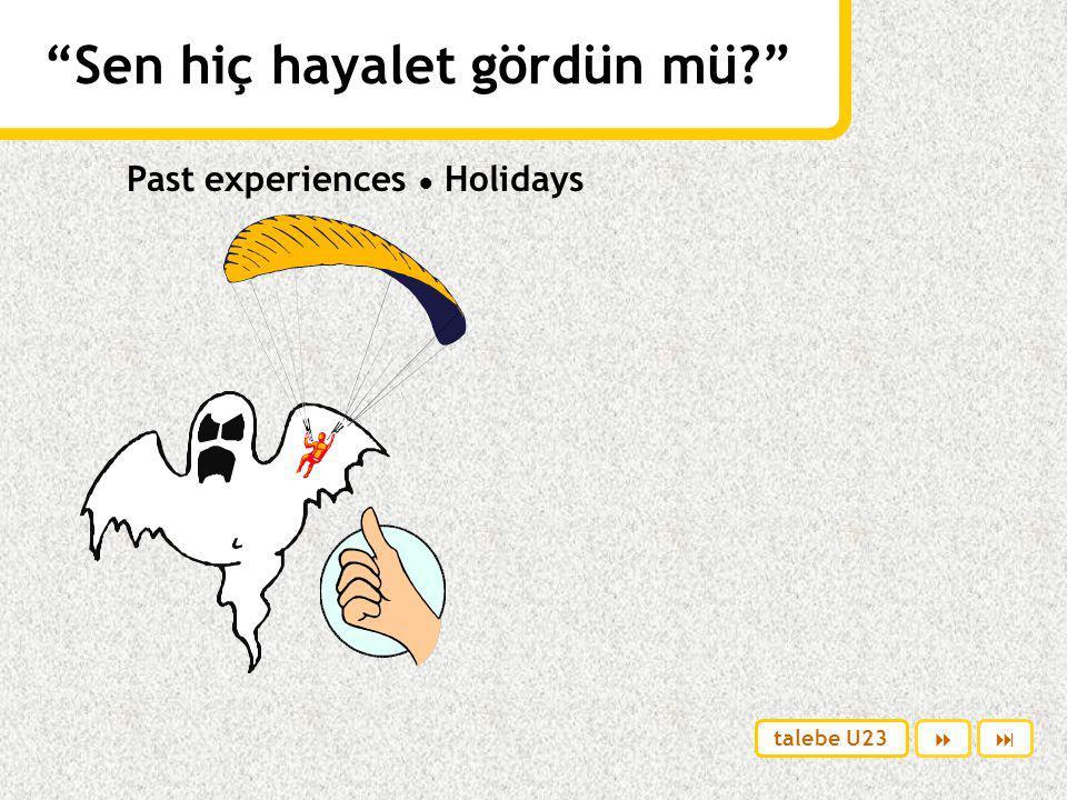 Sen hiç hayalet gördün mü Past experiences ● Holidays