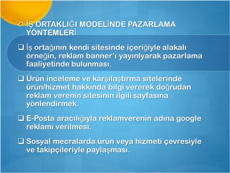İŞ ORTAKLIĞI MODELİNDE PAZARLAMA YÖNTEMLERİ