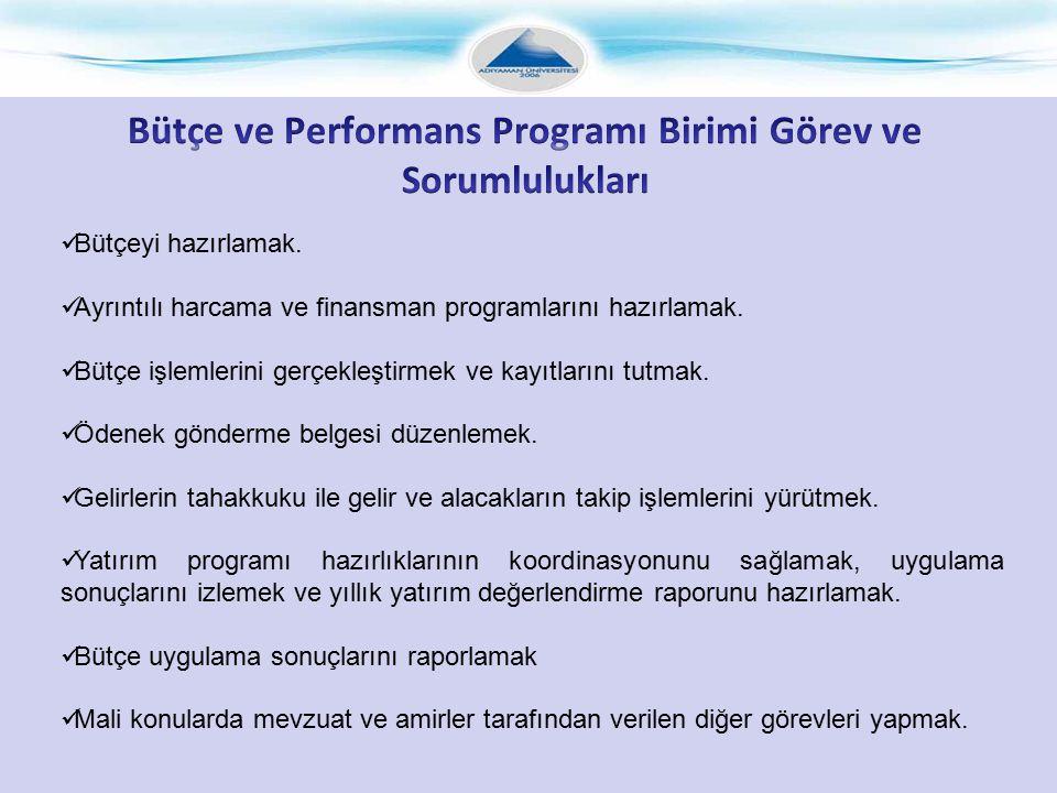 Bütçe ve Performans Programı Birimi Görev ve Sorumlulukları