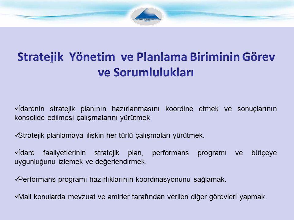 Stratejik Yönetim ve Planlama Biriminin Görev ve Sorumlulukları