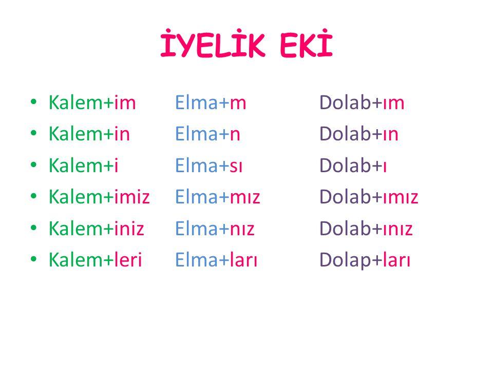 İYELİK EKİ Kalem+im Elma+m Dolab+ım Kalem+in Elma+n Dolab+ın Kalem+i