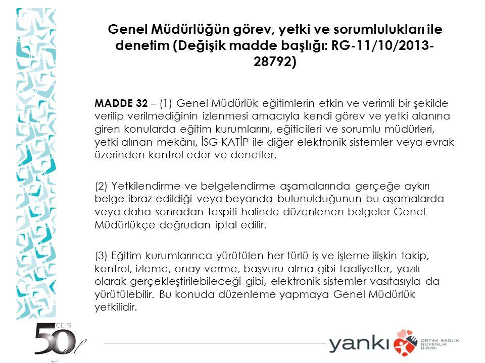 Genel Müdürlüğün görev, yetki ve sorumlulukları ile denetim (Değişik madde başlığı: RG-11/10/2013-28792)