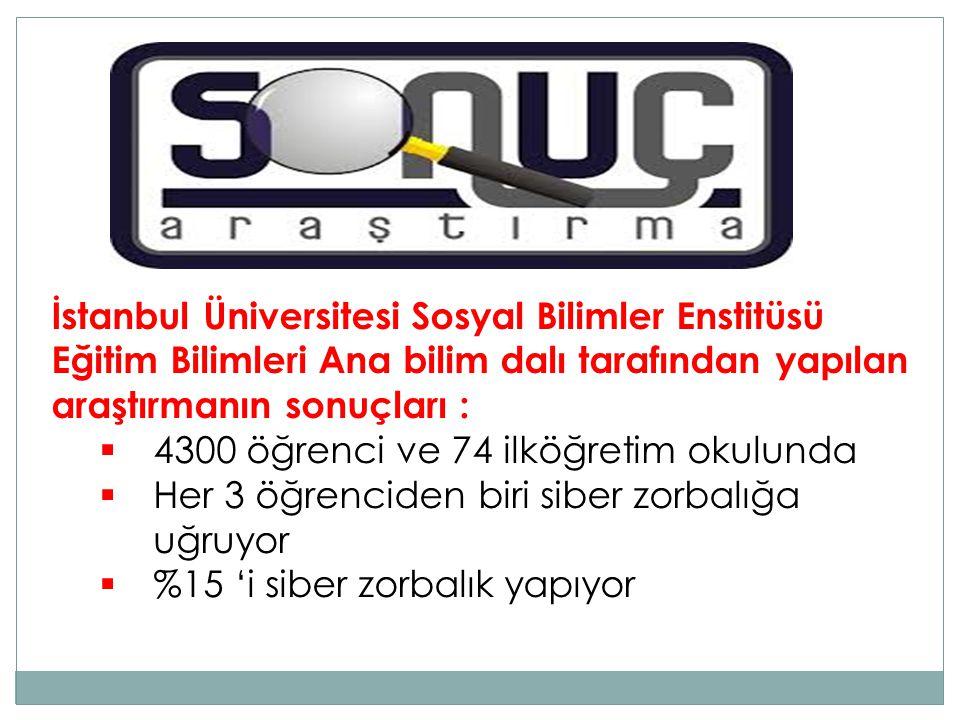İstanbul Üniversitesi Sosyal Bilimler Enstitüsü Eğitim Bilimleri Ana bilim dalı tarafından yapılan araştırmanın sonuçları :