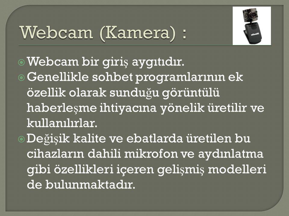 Webcam (Kamera) : Webcam bir giriş aygıtıdır.