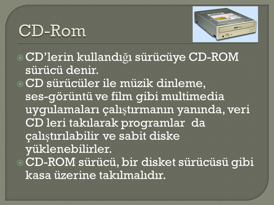 CD-Rom CD'lerin kullandığı sürücüye CD-ROM sürücü denir.
