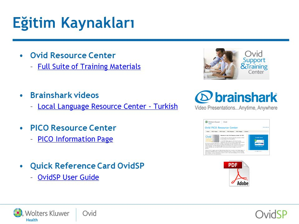 Eğitim Kaynakları Ovid Resource Center Brainshark videos