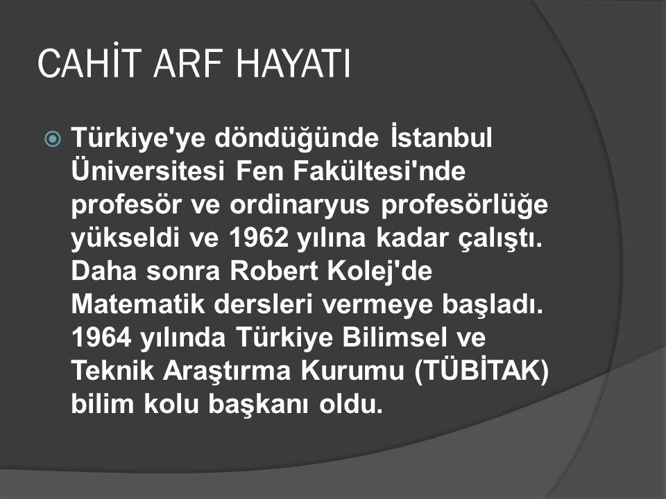 CAHİT ARF HAYATI