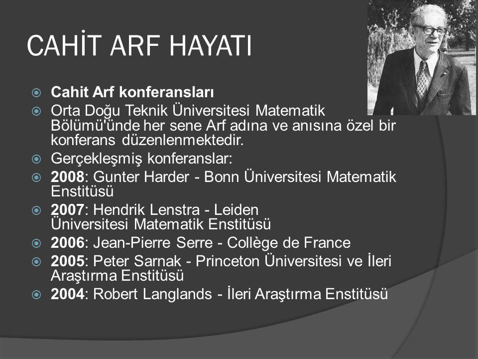 CAHİT ARF HAYATI Cahit Arf konferansları