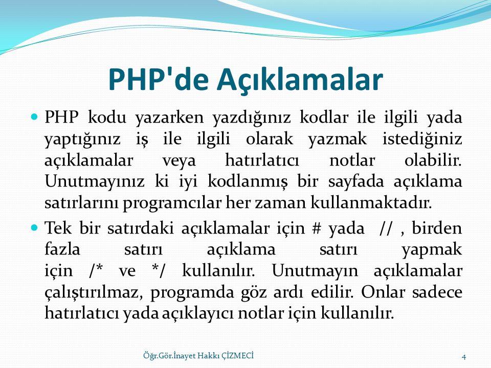 PHP de Açıklamalar