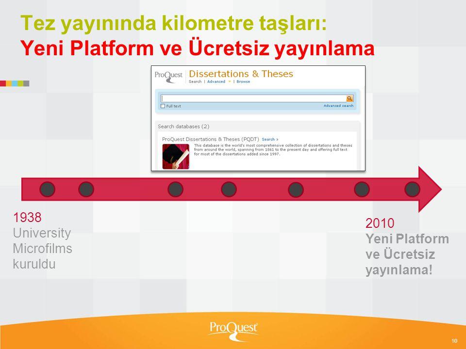 Tez yayınında kilometre taşları: Yeni Platform ve Ücretsiz yayınlama