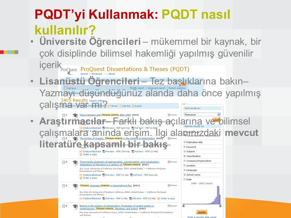 PQDT'yi Kullanmak: PQDT nasıl kullanılır