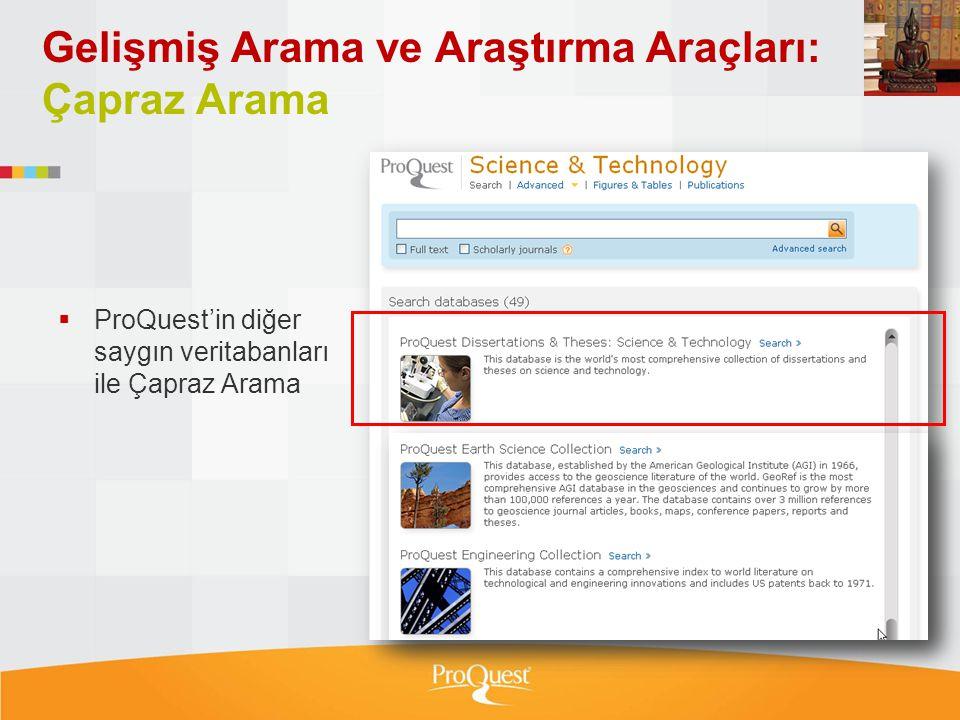 Gelişmiş Arama ve Araştırma Araçları: Çapraz Arama
