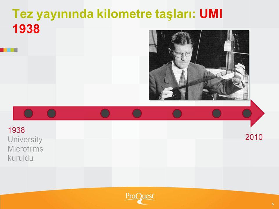 Tez yayınında kilometre taşları: UMI 1938