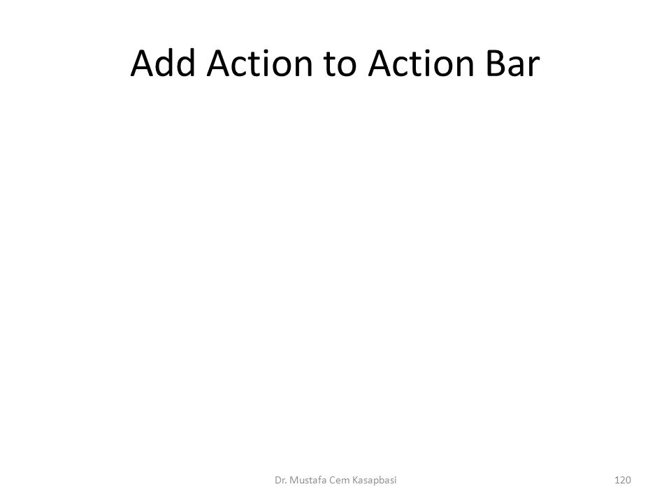 Add Action to Action Bar