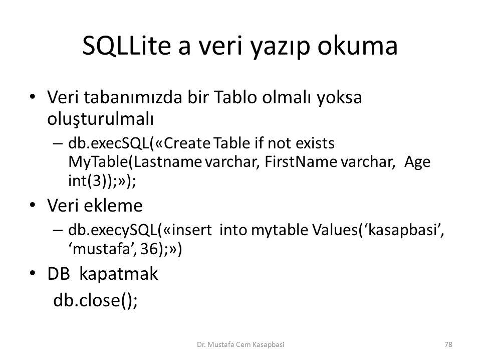 SQLLite a veri yazıp okuma